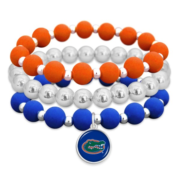"Florida Gator Rubber Beaded Game Day Stretch Bracelet Set.  - Charm 1""  - Bead Size: 9mm - Approximately 3"" in Diameter - Fits up to a 7"" Wrist"