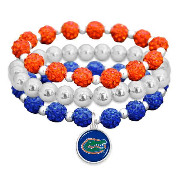 "Florida Gator Rhinestone Beaded Game Day Stretch Bracelet Set.  - 3pcs per set - Bead Size: 9mm - Charm 1""  - Approximately 3"" in Diameter - Fits up to a 7"" Wrist"