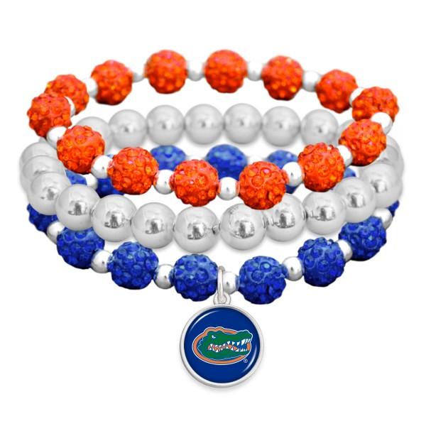 Wholesale florida Gator Rhinestone Beaded Game Day Stretch Bracelet Set pcs per