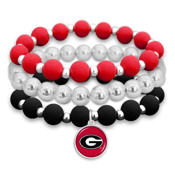 "Georgia Rubber Beaded Game Day Stretch Bracelet Set.  - Charm 1""  - Bead Size: 9mm - Approximately 3"" in Diameter - Fits up to a 7"" Wrist"