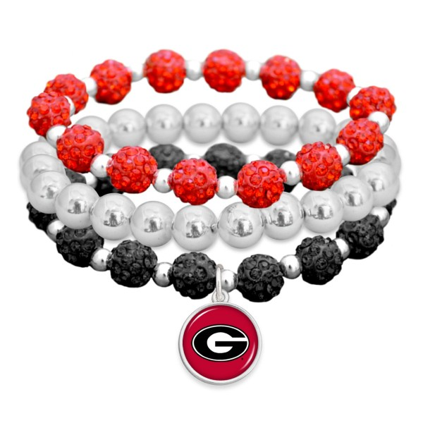 "Georgia Rhinestone Beaded Game Day Stretch Bracelet Set.  - 3pcs per set - Bead Size: 9mm - Charm 1""  - Approximately 3"" in Diameter - Fits up to a 7"" Wrist"