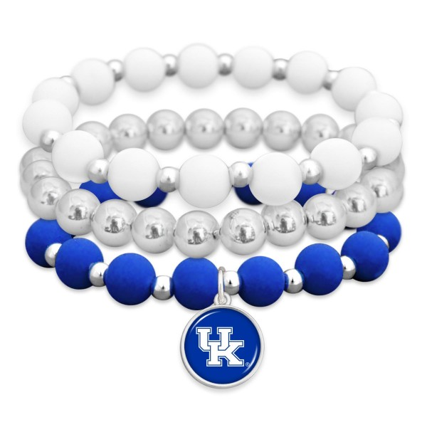"Kentucky Rubber Beaded Game Day Stretch Bracelet Set.  - Charm 1""  - Bead Size: 9mm - Approximately 3"" in Diameter - Fits up to a 7"" Wrist"