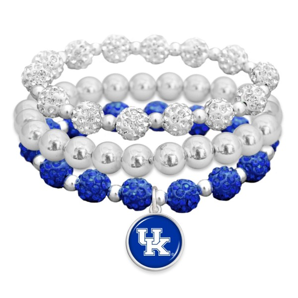 "Kentucky Rhinestone Beaded Game Day Stretch Bracelet Set.  - 3pcs per set - Bead Size: 9mm - Charm 1""  - Approximately 3"" in Diameter - Fits up to a 7"" Wrist"