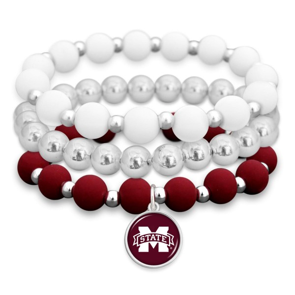 "Mississippi State Rubber Beaded Game Day Stretch Bracelet Set.  - Charm 1""  - Bead Size: 9mm - Approximately 3"" in Diameter - Fits up to a 7"" Wrist"