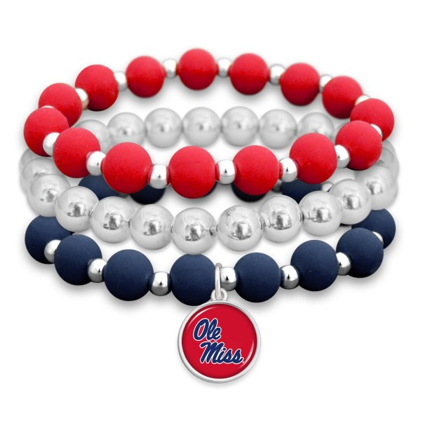 "Ole Miss Rubber Beaded Game Day Stretch Bracelet Set.  - Charm 1""  - Bead Size: 9mm - Approximately 3"" in Diameter - Fits up to a 7"" Wrist"
