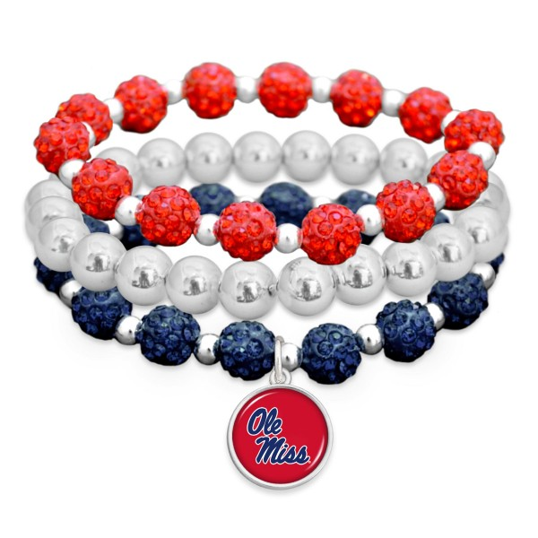 "Ole Miss Rhinestone Beaded Game Day Stretch Bracelet Set.  - 3pcs per set - Bead Size: 9mm - Charm 1""  - Approximately 3"" in Diameter - Fits up to a 7"" Wrist"