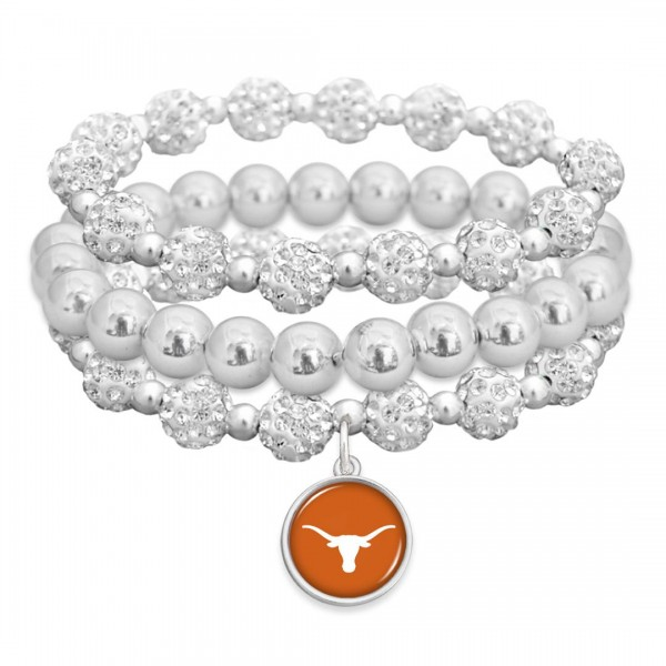 "Texas Longhorn Rhinestone Beaded Game Day Stretch Bracelet Set.  - 3pcs per set - Bead Size: 9mm - Charm 1""  - Approximately 3"" in Diameter - Fits up to a 7"" Wrist"