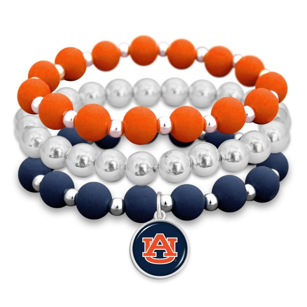 "Auburn Rubber Beaded Game Day Stretch Bracelet Set.  - Charm 1""  - Bead Size: 9mm - Approximately 3"" in Diameter - Fits up to a 7"" Wrist"