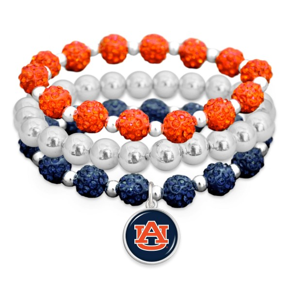 "Auburn Rhinestone Beaded Game Day Stretch Bracelet Set.  - 3pcs per set - Bead Size: 9mm - Charm 1""  - Approximately 3"" in Diameter - Fits up to a 7"" Wrist"