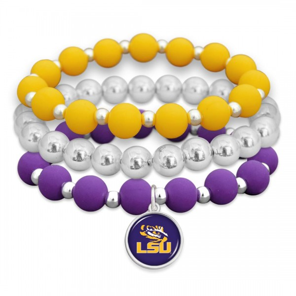 "LSU Rubber Beaded Game Day Stretch Bracelet Set.  - Charm 1""  - Bead Size: 9mm - Approximately 3"" in Diameter - Fits up to a 7"" Wrist"