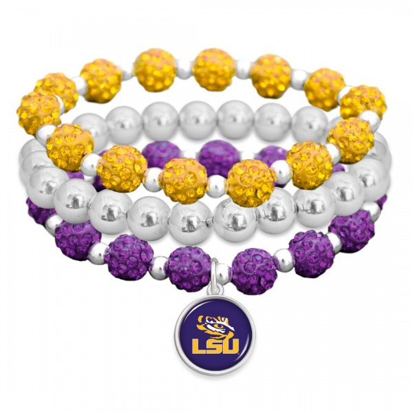 "LSU Rhinestone Beaded Game Day Stretch Bracelet Set.  - 3pcs per set - Bead Size: 9mm - Charm 1""  - Approximately 3"" in Diameter - Fits up to a 7"" Wrist"