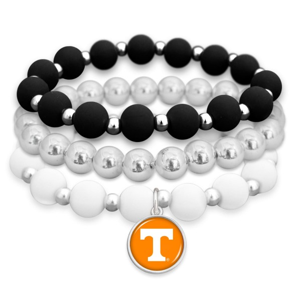 "Tennessee Rubber Beaded Game Day Stretch Bracelet Set.  - Charm 1""  - Bead Size: 9mm - Approximately 3"" in Diameter - Fits up to a 7"" Wrist"