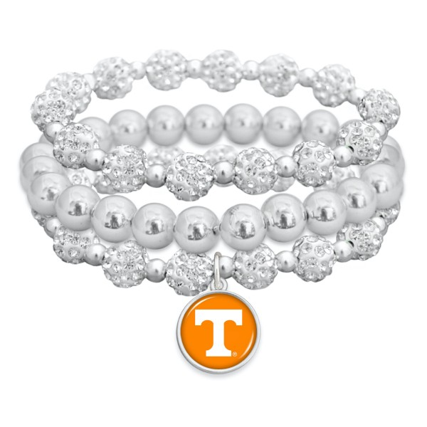"Tennessee Rhinestone Beaded Game Day Stretch Bracelet Set.  - 3pcs per set - Bead Size: 9mm - Charm 1""  - Approximately 3"" in Diameter - Fits up to a 7"" Wrist"