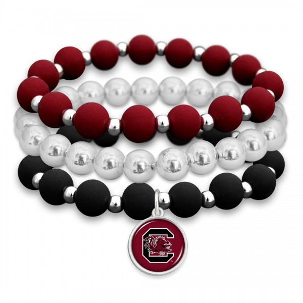 "University of South Carolina Rubber Beaded Game Day Stretch Bracelet Set.  - Charm 1""  - Bead Size: 9mm - Approximately 3"" in Diameter - Fits up to a 7"" Wrist"