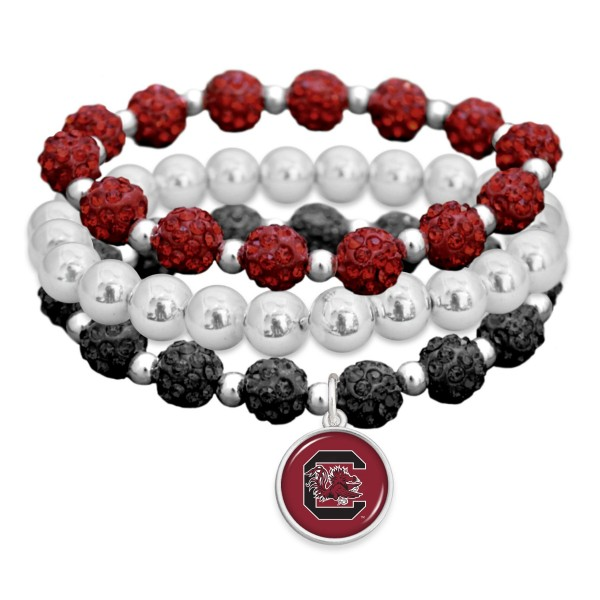"University of South Carolina Rhinestone Beaded Game Day Stretch Bracelet Set.  - 3pcs per set - Bead Size: 9mm - Charm 1""  - Approximately 3"" in Diameter - Fits up to a 7"" Wrist"