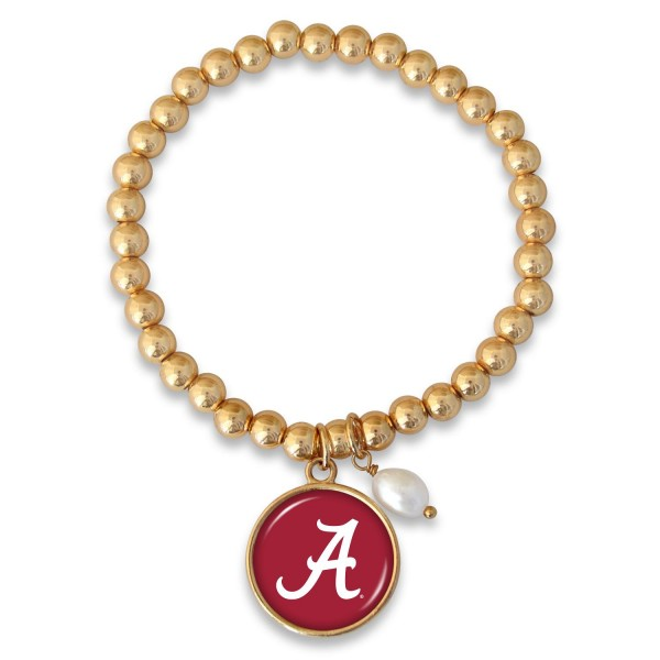 "Alabama Beaded Game Day Stretch Bracelet Featuring Pearl Accent in Gold.  - Charm 1""  - Bead Size: 4mm - Approximately 3"" in Diameter - Fits up to a 7"" Wrist"
