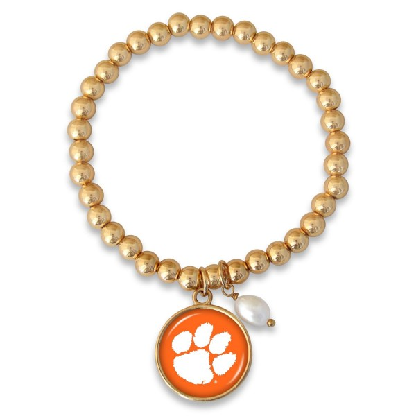 "Clemson Beaded Game Day Stretch Bracelet Featuring Pearl Accent in Gold.  - Charm 1""  - Bead Size: 4mm - Approximately 3"" in Diameter - Fits up to a 7"" Wrist"