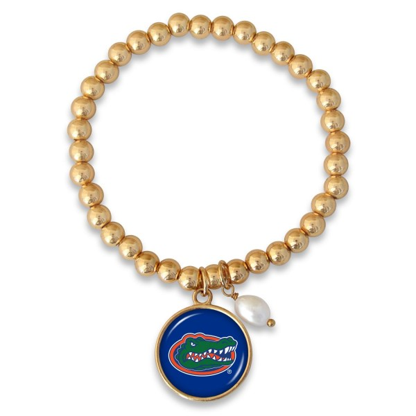 "Florida Gator Beaded Game Day Stretch Bracelet Featuring Pearl Accent in Gold.  - Charm 1""  - Bead Size: 4mm - Approximately 3"" in Diameter - Fits up to a 7"" Wrist"