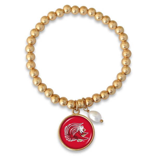 "Jacksonville State University Beaded Game Day Stretch Bracelet Featuring Pearl Accent in Gold.  - Charm 1""  - Bead Size: 4mm - Approximately 3"" in Diameter - Fits up to a 7"" Wrist"