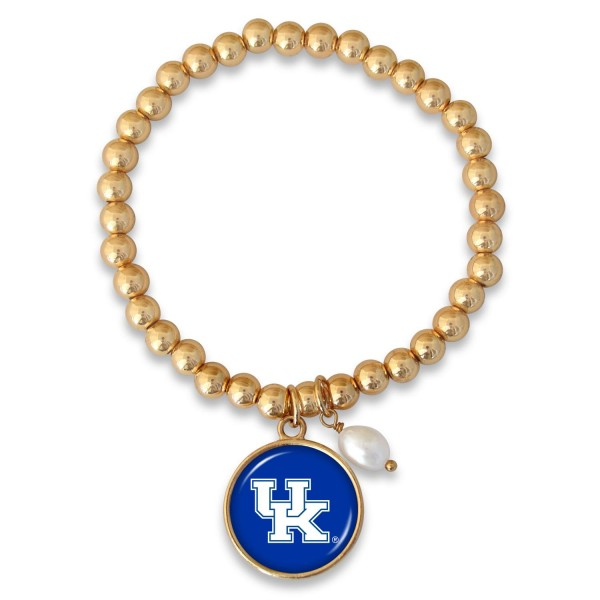 "Kentucky Beaded Game Day Stretch Bracelet Featuring Pearl Accent in Gold.  - Charm 1""  - Bead Size: 4mm - Approximately 3"" in Diameter - Fits up to a 7"" Wrist"