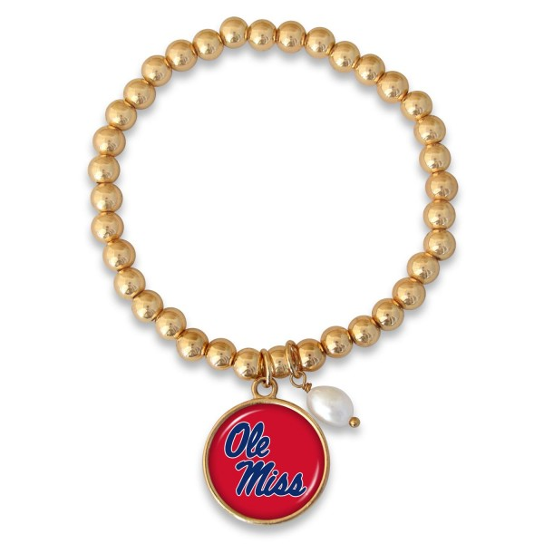 "Ole Miss Beaded Game Day Stretch Bracelet Featuring Pearl Accent in Gold.  - Charm 1""  - Bead Size: 4mm - Approximately 3"" in Diameter - Fits up to a 7"" Wrist"