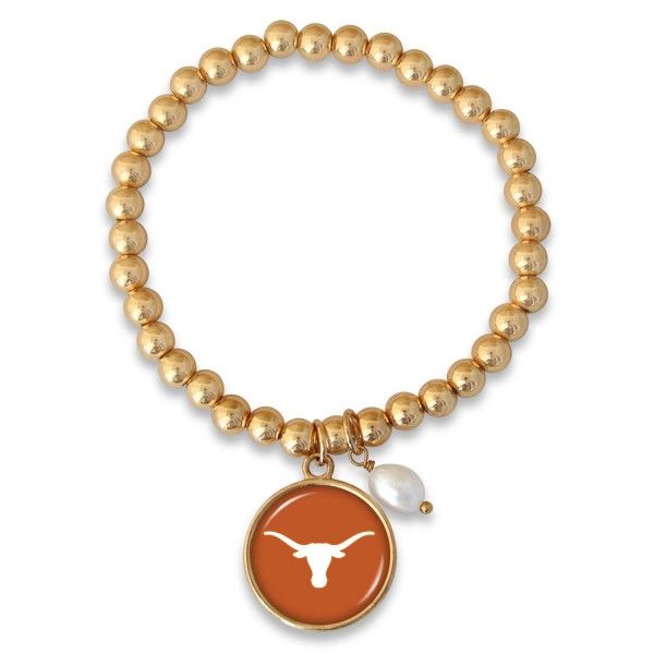 "Texas Longhorn Beaded Game Day Stretch Bracelet Featuring Pearl Accent in Gold.  - Charm 1""  - Bead Size: 4mm - Approximately 3"" in Diameter - Fits up to a 7"" Wrist"