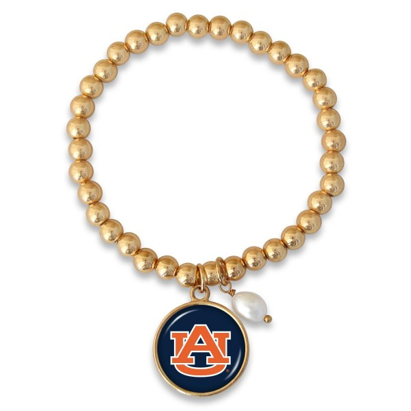"Auburn Beaded Game Day Stretch Bracelet Featuring Pearl Accent in Gold.  - Charm 1""  - Bead Size: 4mm - Approximately 3"" in Diameter - Fits up to a 7"" Wrist"