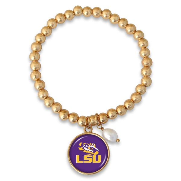 "LSU Beaded Game Day Stretch Bracelet Featuring Pearl Accent in Gold.  - Charm 1""  - Bead Size: 4mm - Approximately 3"" in Diameter - Fits up to a 7"" Wrist"