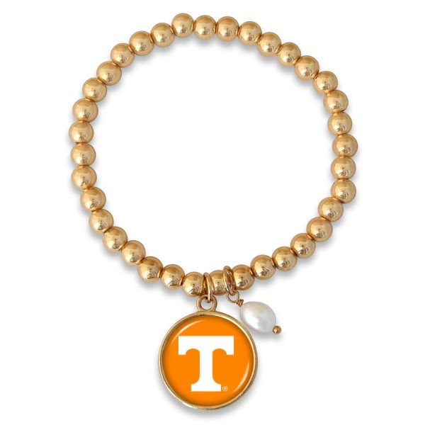 "Tennessee Beaded Game Day Stretch Bracelet Featuring Pearl Accent in Gold.  - Charm 1""  - Bead Size: 4mm - Approximately 3"" in Diameter - Fits up to a 7"" Wrist"