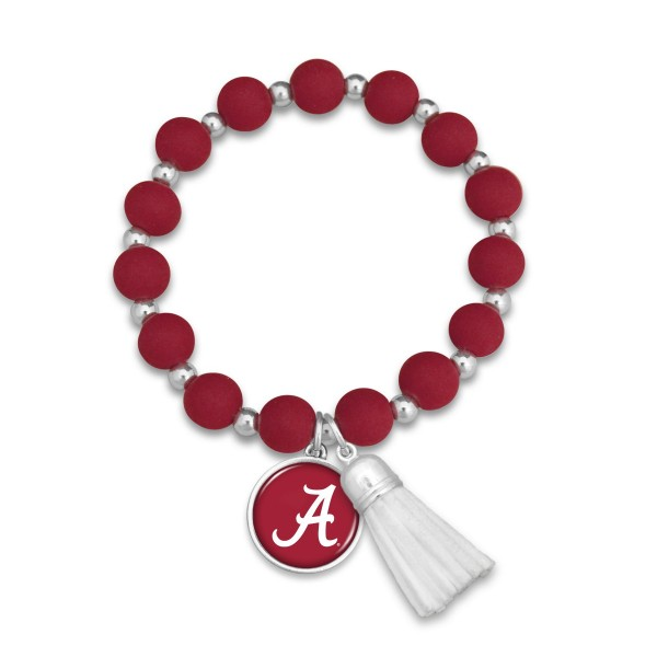 "Alabama Rubber Beaded Game Day Tassel Stretch Bracelet.  - Charm & Tassel 1"" - Bead Size: 9mm - Approximately 3' in Diameter - Fits up to a 7"" Wrist"