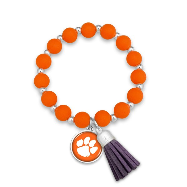 "Clemson Rubber Beaded Game Day Tassel Stretch Bracelet.  - Charm & Tassel 1"" - Bead Size: 9mm - Approximately 3' in Diameter - Fits up to a 7"" Wrist"