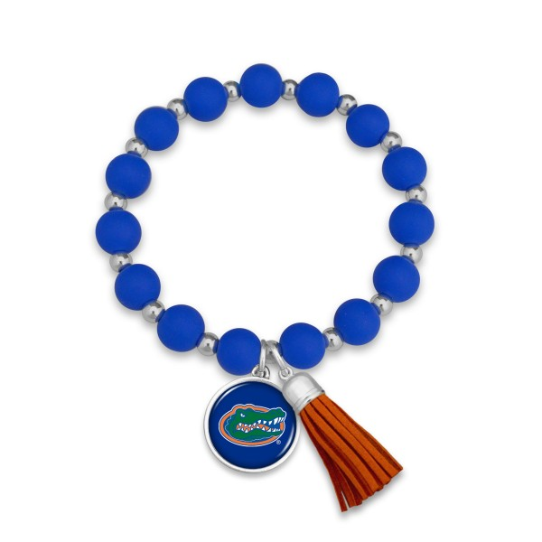 "Florida Gator Rubber Beaded Game Day Tassel Stretch Bracelet.  - Charm & Tassel 1"" - Bead Size: 9mm - Approximately 3' in Diameter - Fits up to a 7"" Wrist"