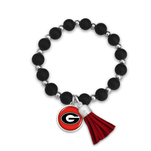 "Georgia Rubber Beaded Game Day Tassel Stretch Bracelet.  - Charm & Tassel 1"" - Bead Size: 9mm - Approximately 3' in Diameter - Fits up to a 7"" Wrist"