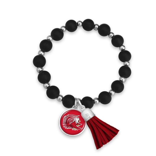 "Jacksonville State University Rubber Beaded Game Day Tassel Stretch Bracelet.  - Charm & Tassel 1"" - Bead Size: 9mm - Approximately 3' in Diameter - Fits up to a 7"" Wrist"
