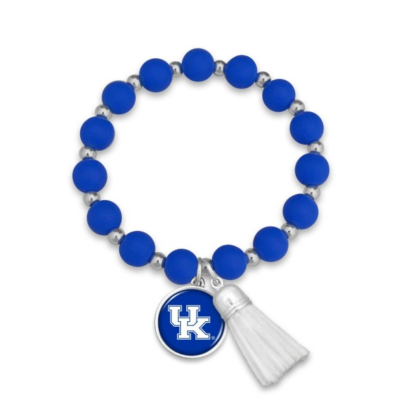"Kentucky Rubber Beaded Game Day Tassel Stretch Bracelet.  - Charm & Tassel 1"" - Bead Size: 9mm - Approximately 3' in Diameter - Fits up to a 7"" Wrist"