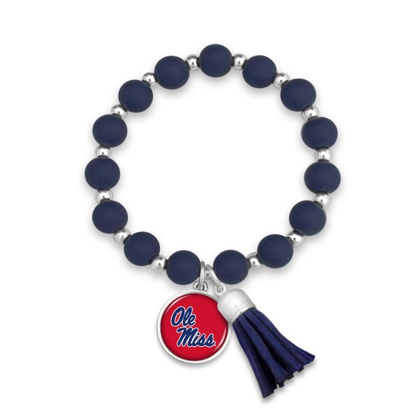"Ole Miss Rubber Beaded Game Day Tassel Stretch Bracelet.  - Charm & Tassel 1"" - Bead Size: 9mm - Approximately 3' in Diameter - Fits up to a 7"" Wrist"
