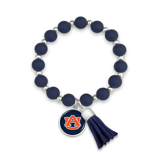 "Auburn Rubber Beaded Game Day Tassel Stretch Bracelet.  - Charm & Tassel 1"" - Bead Size: 9mm - Approximately 3' in Diameter - Fits up to a 7"" Wrist"