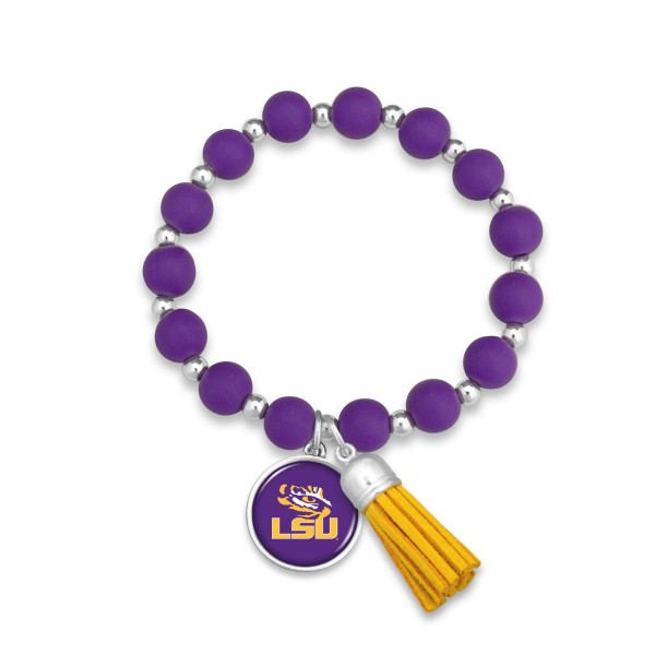 "LSU Rubber Beaded Game Day Tassel Stretch Bracelet.  - Charm & Tassel 1"" - Bead Size: 9mm - Approximately 3' in Diameter - Fits up to a 7"" Wrist"