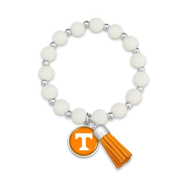 "Tennessee Rubber Beaded Game Day Tassel Stretch Bracelet.  - Charm & Tassel 1"" - Bead Size: 9mm - Approximately 3' in Diameter - Fits up to a 7"" Wrist"