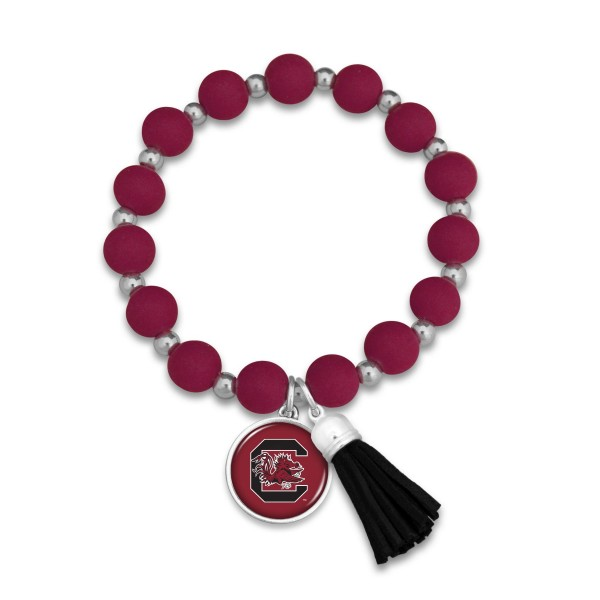 "University of South Carolina Rubber Beaded Game Day Tassel Stretch Bracelet.  - Charm & Tassel 1"" - Bead Size: 9mm - Approximately 3' in Diameter - Fits up to a 7"" Wrist"