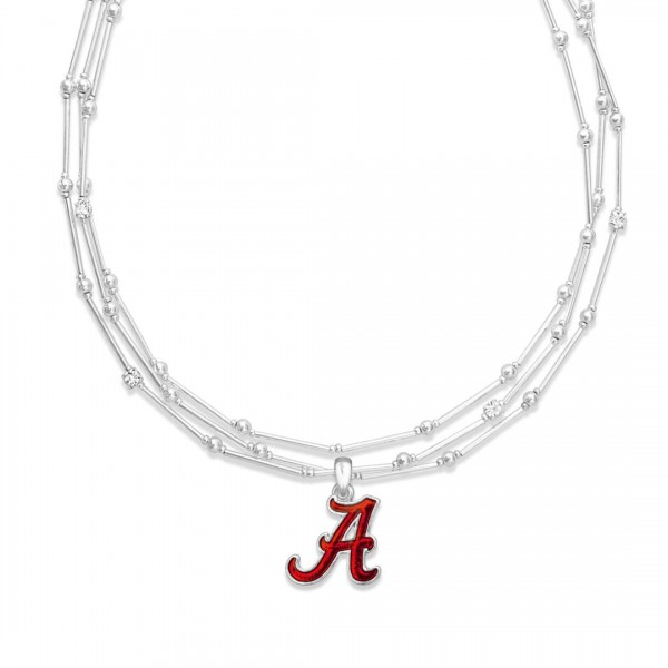 "Alabama Layered Game Day Necklace Featuring Rhinestone Accents.  - Pendant .75"" - Approximately 18"" L  - 2"" Adjustable Extender"