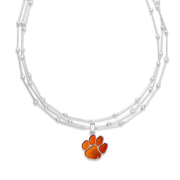 "Clemson Layered Game Day Necklace Featuring Rhinestone Accents.  - Pendant .75"" - Approximately 18"" L  - 2"" Adjustable Extender"