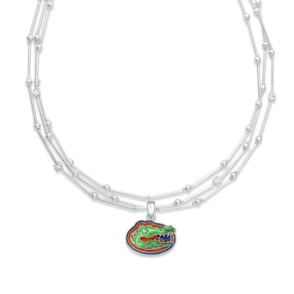 "Florida Gator Layered Game Day Necklace Featuring Rhinestone Accents.  - Pendant .75"" - Approximately 18"" L  - 2"" Adjustable Extender"