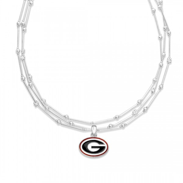 "Georgia Layered Game Day Necklace Featuring Rhinestone Accents.  - Pendant .75"" - Approximately 18"" L  - 2"" Adjustable Extender"