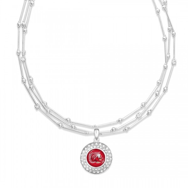 "Jacksonville State University Layered Game Day Necklace Featuring Rhinestone Accents.  - Pendant .75"" - Approximately 18"" L  - 2"" Adjustable Extender"