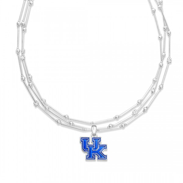 "Kentucky Layered Game Day Necklace Featuring Rhinestone Accents.  - Pendant .75"" - Approximately 18"" L  - 2"" Adjustable Extender"