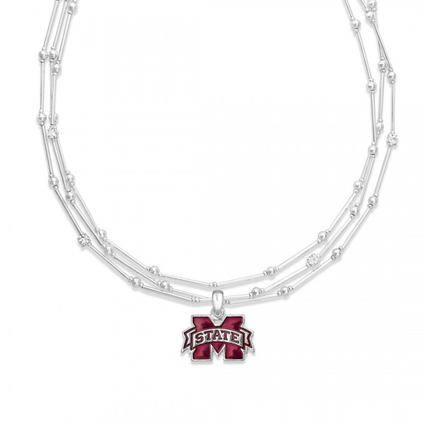 "Mississippi State Layered Game Day Necklace Featuring Rhinestone Accents.  - Pendant .75"" - Approximately 18"" L  - 2"" Adjustable Extender"