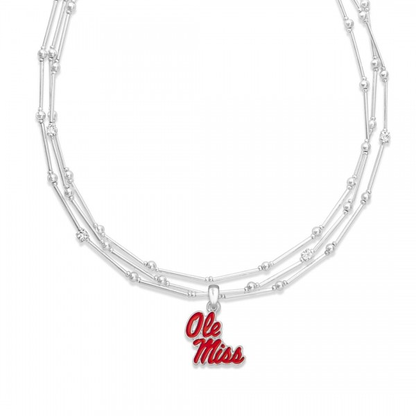 "Ole Miss Layered Game Day Necklace Featuring Rhinestone Accents.  - Pendant .75"" - Approximately 18"" L  - 2"" Adjustable Extender"