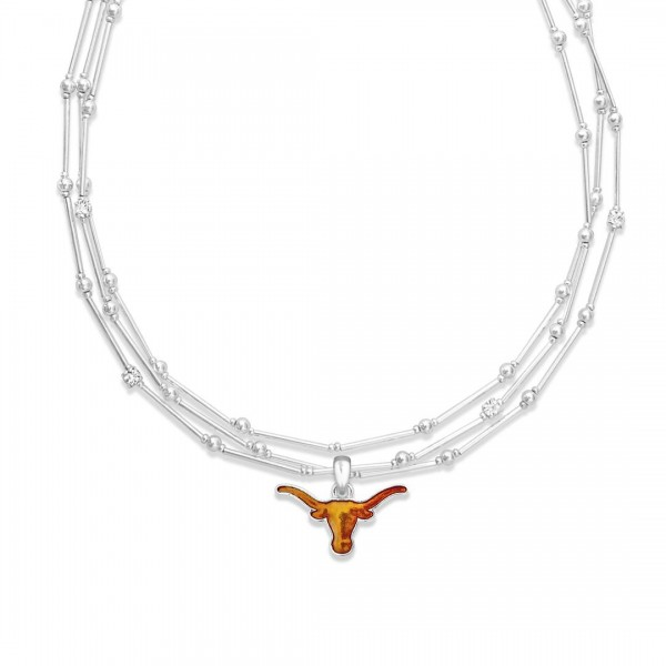 "Texas Longhorn Layered Game Day Necklace Featuring Rhinestone Accents.  - Pendant .75"" - Approximately 18"" L  - 2"" Adjustable Extender"