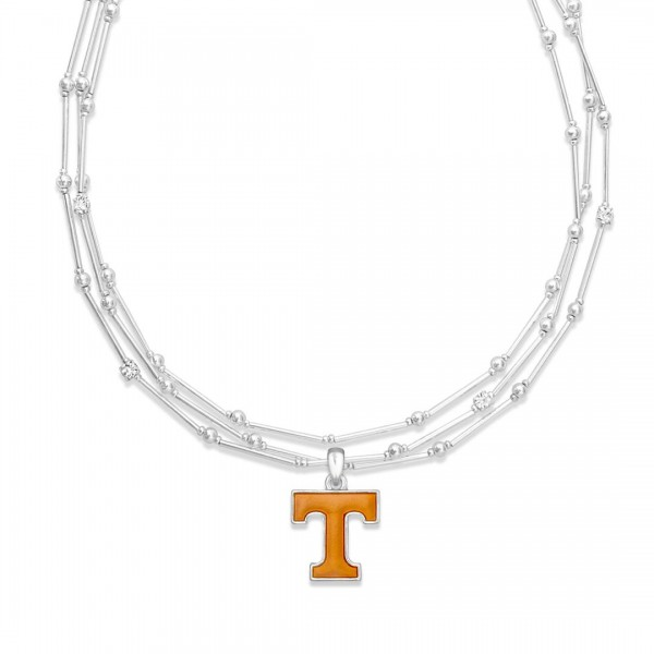 "Tennessee Layered Game Day Necklace Featuring Rhinestone Accents.  - Pendant .75"" - Approximately 18"" L  - 2"" Adjustable Extender"